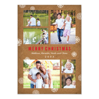 Modern Rustic Holiday Card with Snowflakes