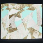 """Modern Rustic Mint White and Faux Gold Geometric 3 Ring Binder<br><div class=""""desc"""">This modern and rustic mint green,  white,  and faux printed gold geometric pattern is perfect for the trendy and stylish individual. Its contemporary and chic pattern is great for many gifts and occasions. Enjoy this bold print and simple color palette for your next purchase!</div>"""