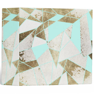 Modern Rustic Mint White and Faux Gold Geometric 3 Ring Binder