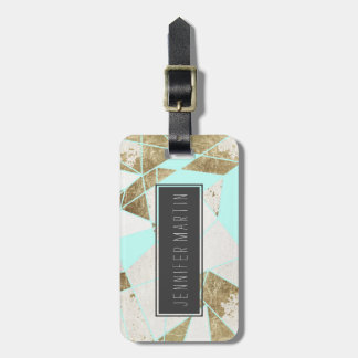 Modern Rustic Mint White and Faux Gold Geometric Tag For Luggage