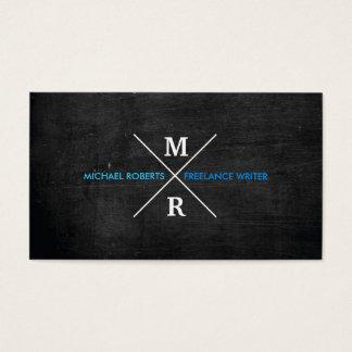 MODERN RUSTIC MONOGRAM Blue Text & Black Wood Business Card