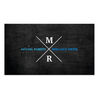 MODERN RUSTIC MONOGRAM Blue Text & Black Wood Double-Sided Standard Business Cards (Pack Of 100)