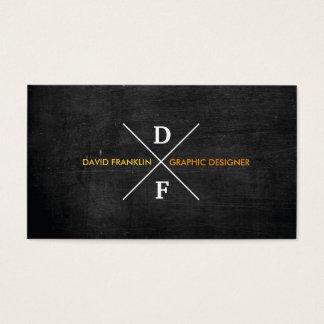 MODERN RUSTIC MONOGRAM Orange Text & Black Wood Business Card