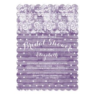 Modern Rustic Purple Lace Bridal Shower Invitation