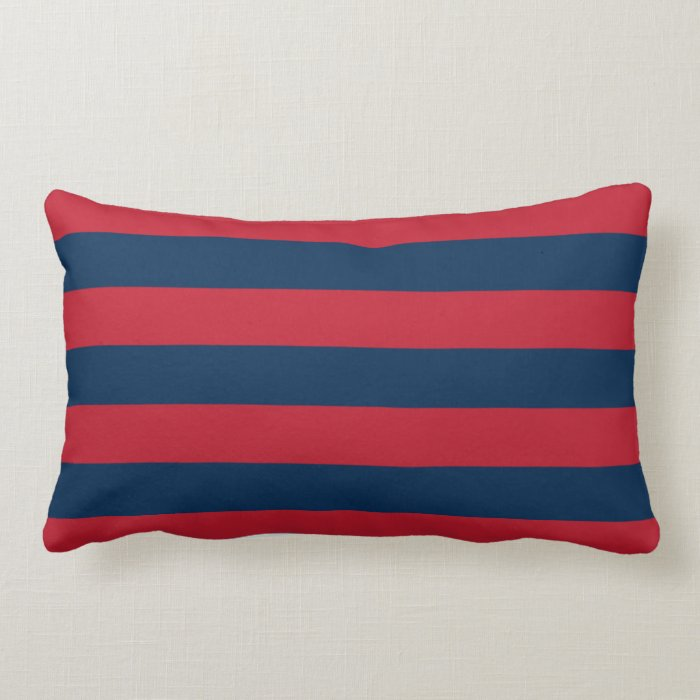 Modern Moose Pillows : Modern rustic red navy blue horizontal stripes lumbar pillow Zazzle
