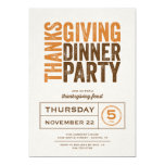 Modern Rustic Thanksgiving Dinner Party 5x7 Paper Invitation Card