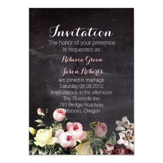 modern rustic  vintage flowers Chalkboard wedding Card