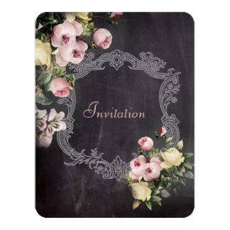 modern rustic  vintage flowers Chalkboard wedding 4.25x5.5 Paper Invitation Card