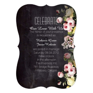 modern rustic  vintage flowers Chalkboard wedding 5x7 Paper Invitation Card