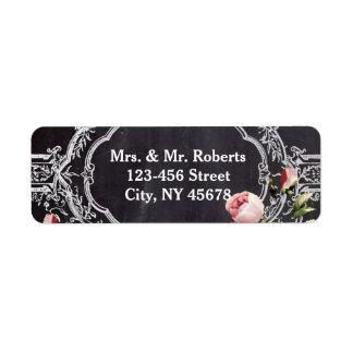 modern rustic  vintage flowers Chalkboard wedding Custom Return Address Labels