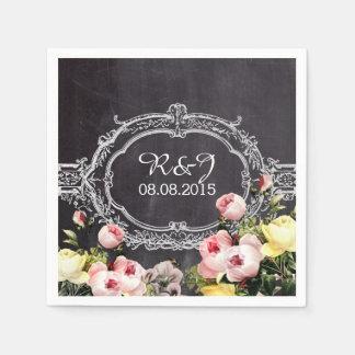 modern rustic  vintage flowers Chalkboard wedding Disposable Napkins