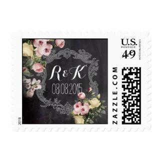 modern rustic  vintage flowers Chalkboard wedding Postage