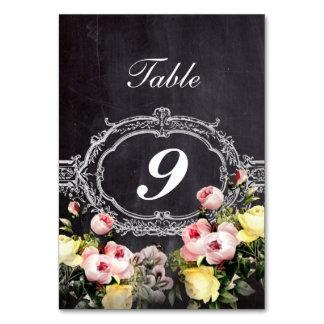 modern rustic  vintage flowers Chalkboard wedding Table Card