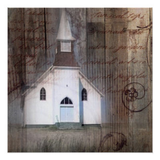 modern  rustic western country church landscape poster