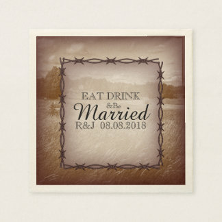 modern rustic western country wedding paper napkin