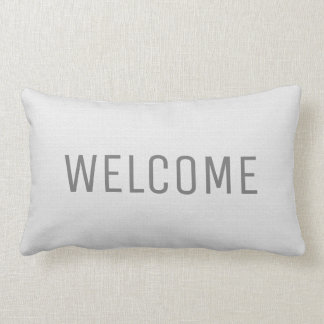 Modern rustic white faux burlap texture Welcome Lumbar Pillow