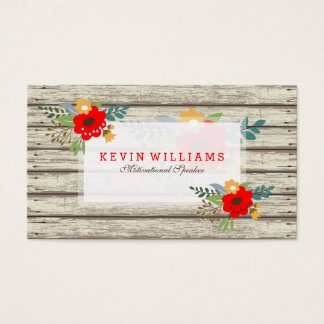 Modern Rustic White Paint Wood & Flowers Accent Business Card