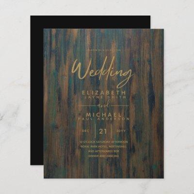 Modern Rustic Wood Gold Budget Wedding Invites