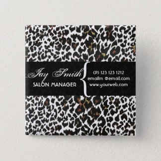 Modern Safari Salons Hair Business Name Tag Pinback Button