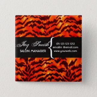 Modern Safari  WildLife Stripes Pattern  Name Tag Button