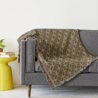 Modern Sage Green and Chocolate Brown Circles Throw Blanket