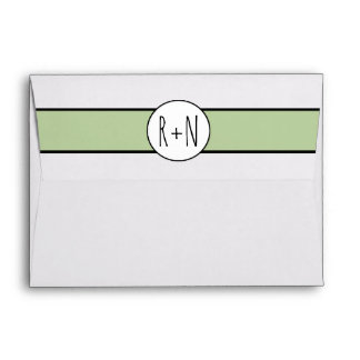 Modern sage green band with initials wedding envelope