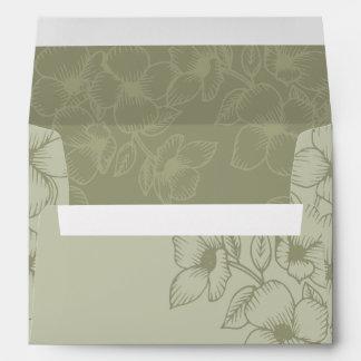 Modern Sage Green Floral Wedding Envelope