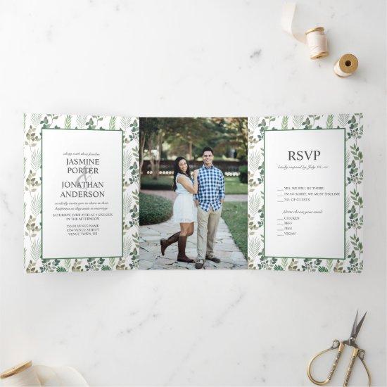 Modern Sage Green Leaf Pattern Photo Wedding Tri-Fold Invitation