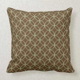 Modern Sage Green On Chocolate Brown Circles Throw Pillow