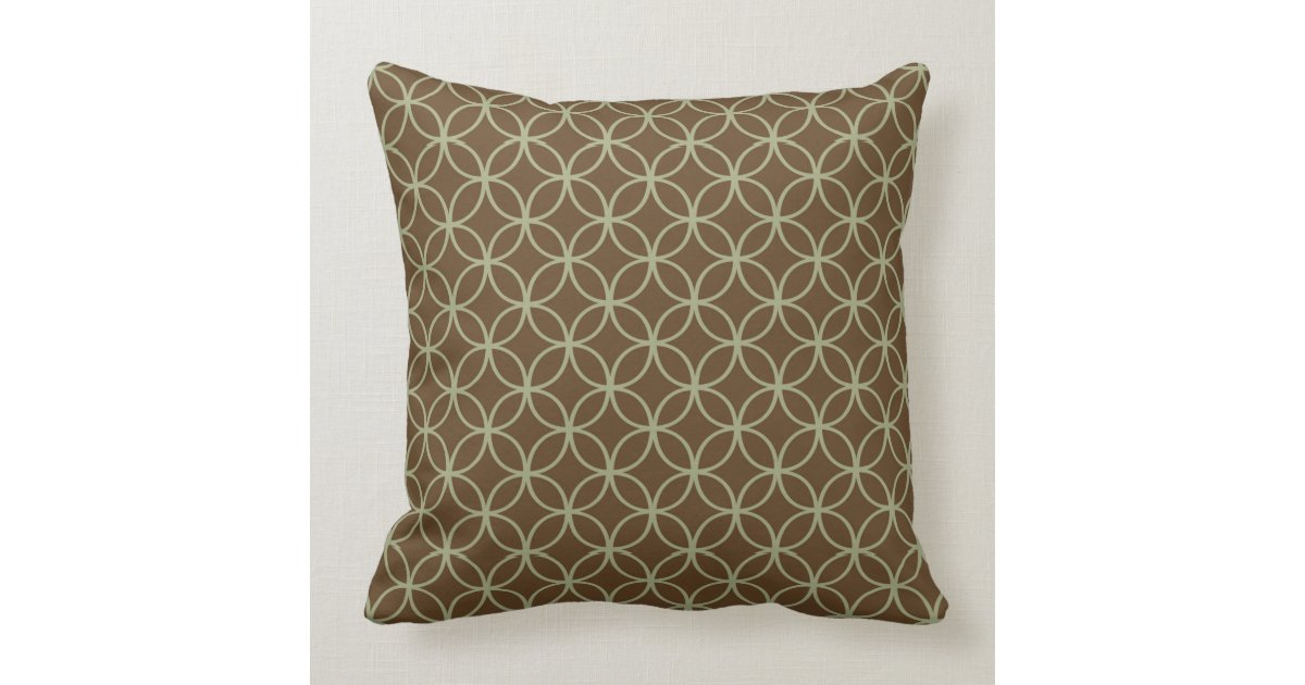 Modern Sage Green On Chocolate Brown Circles Throw Pillow Zazzle