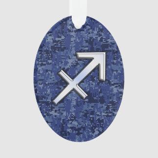 Modern Sagittarius Zodiac Sign Navy Digital Camo Ornament