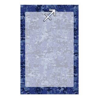 Modern Sagittarius Zodiac Sign Navy Digital Camo Stationery