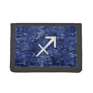 Modern Sagittarius Zodiac Sign Navy Digital Camo Tri-fold Wallets