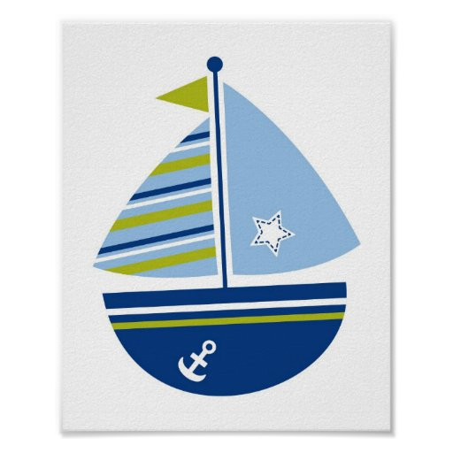 Modern Sailboat Blue Green Nursery Wall Print