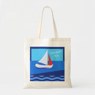 Modern Sailboat Theme Ocean Waves Optional Word Tote Bag