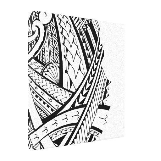 Modern Samoan tattoo art Stretched Canvas Print