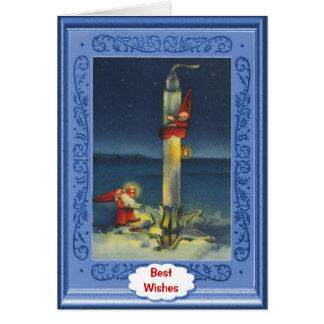 Modern Santas go by rocket Greeting Card