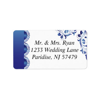 Modern Sapphire Blue Lace | Wedding Label