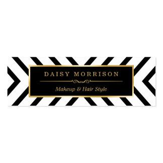 Modern Sassy Gold Black White Pattern Mini Business Card