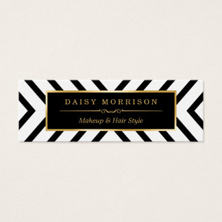 Modern Sassy Gold Black White Pattern Mini Business Card