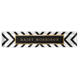 Modern Sassy Gold Black White Stripes Pattern Desk Name Plate