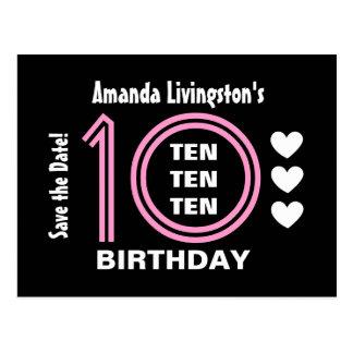 Modern Save the Date 10th Birthday Party V01B Postcard
