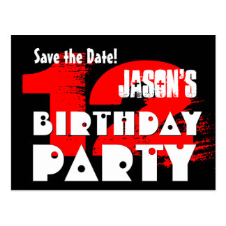 Modern Save the Date 12th Birthday Party V01 Postcard