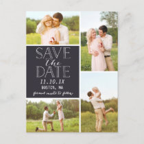 Modern Save The Date 4-Photo Classic Collage Announcement Postcard