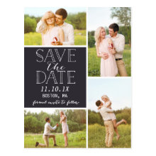 Modern Save The Date 4-Photo Classic Collage cards