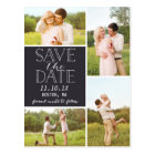 Modern Save The Date 4-Photo Classic Collage Postcard