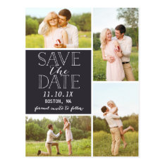 Modern Save The Date 4-photo Classic Collage Postcard at Zazzle