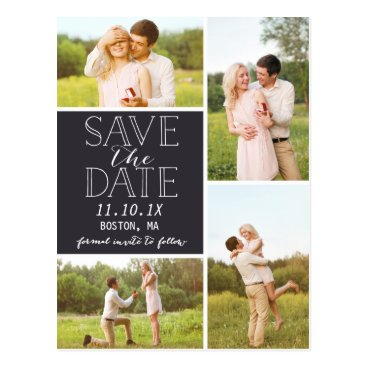 NBpaperco Modern Save The Date 4-Photo Classic Collage Postcard
