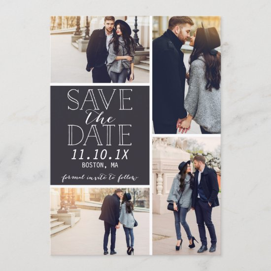 Modern Save The Date 4-Photo Collage