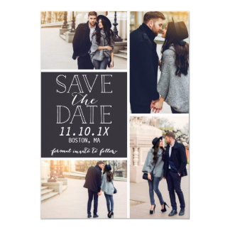 Modern Save The Date 4-Photo Collage Card